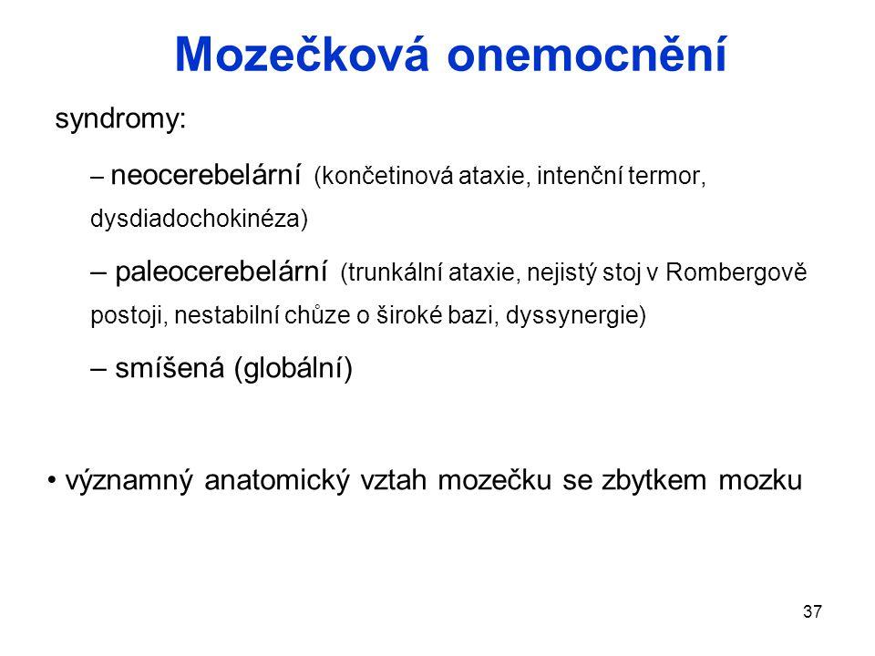 Mozečková onemocnění syndromy:
