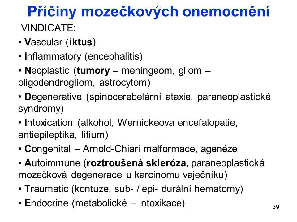 Příčiny mozečkových onemocnění