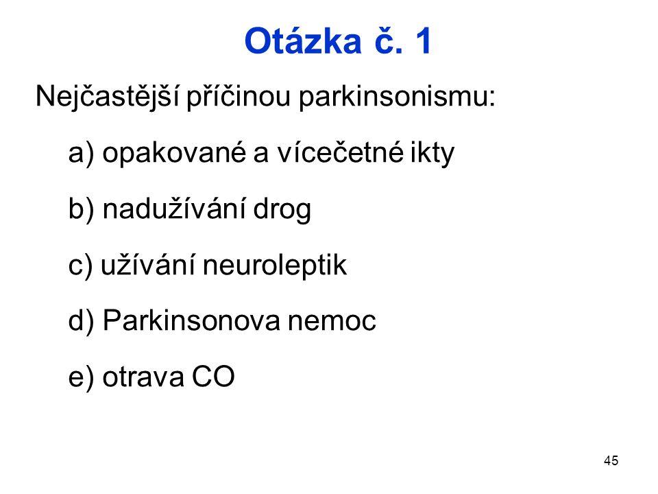 Otázka č. 1 Nejčastější příčinou parkinsonismu: