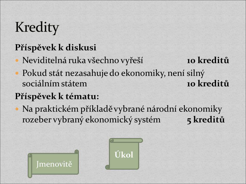 Kredity Příspěvek k diskusi Neviditelná ruka všechno vyřeší 10 kreditů