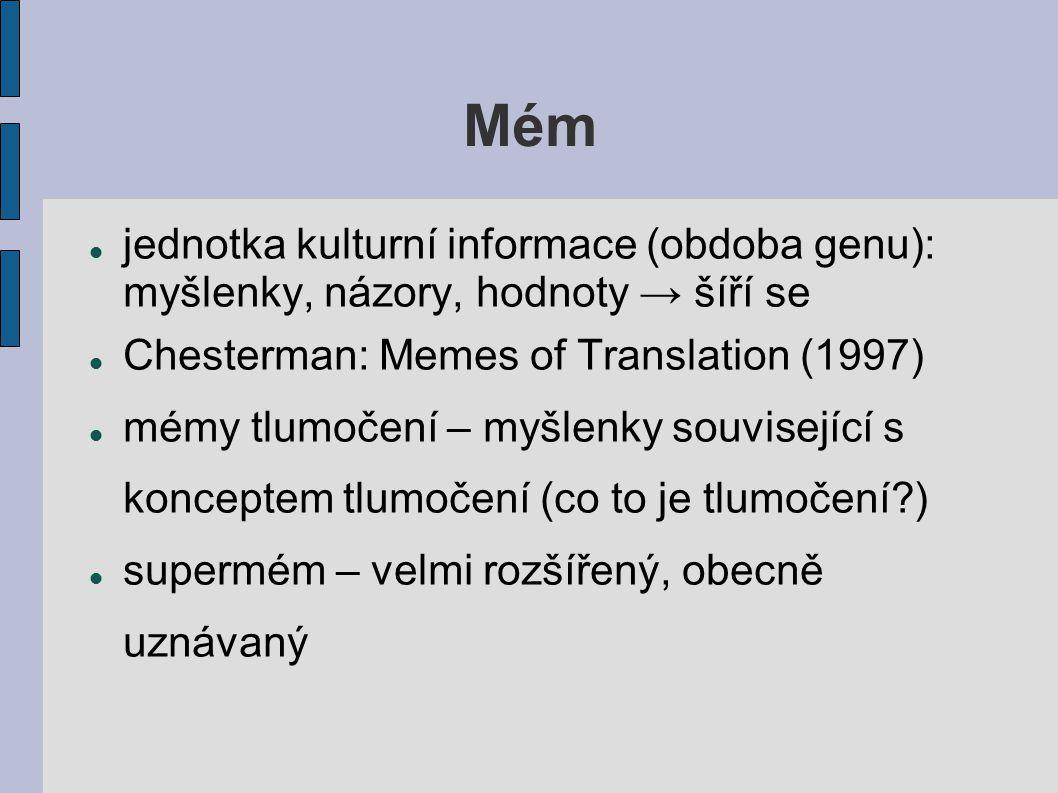 Mém jednotka kulturní informace (obdoba genu): myšlenky, názory, hodnoty → šíří se. Chesterman: Memes of Translation (1997)