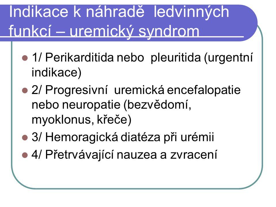 Indikace k náhradě ledvinných funkcí – uremický syndrom