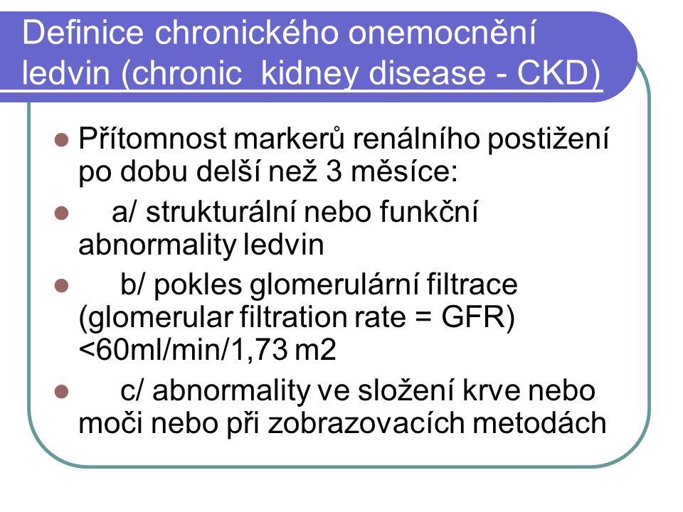 Definice chronického onemocnění ledvin (chronic kidney disease - CKD)