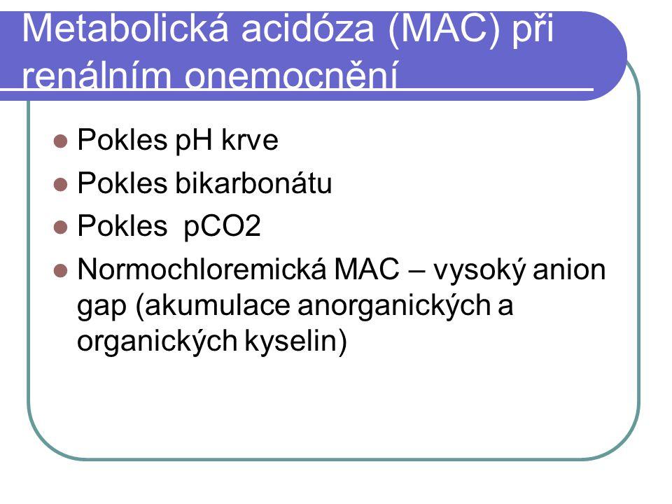 Metabolická acidóza (MAC) při renálním onemocnění