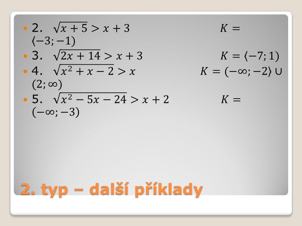 2. typ – další příklady 2. 𝑥+5 >𝑥+3 𝐾= −3;−1)