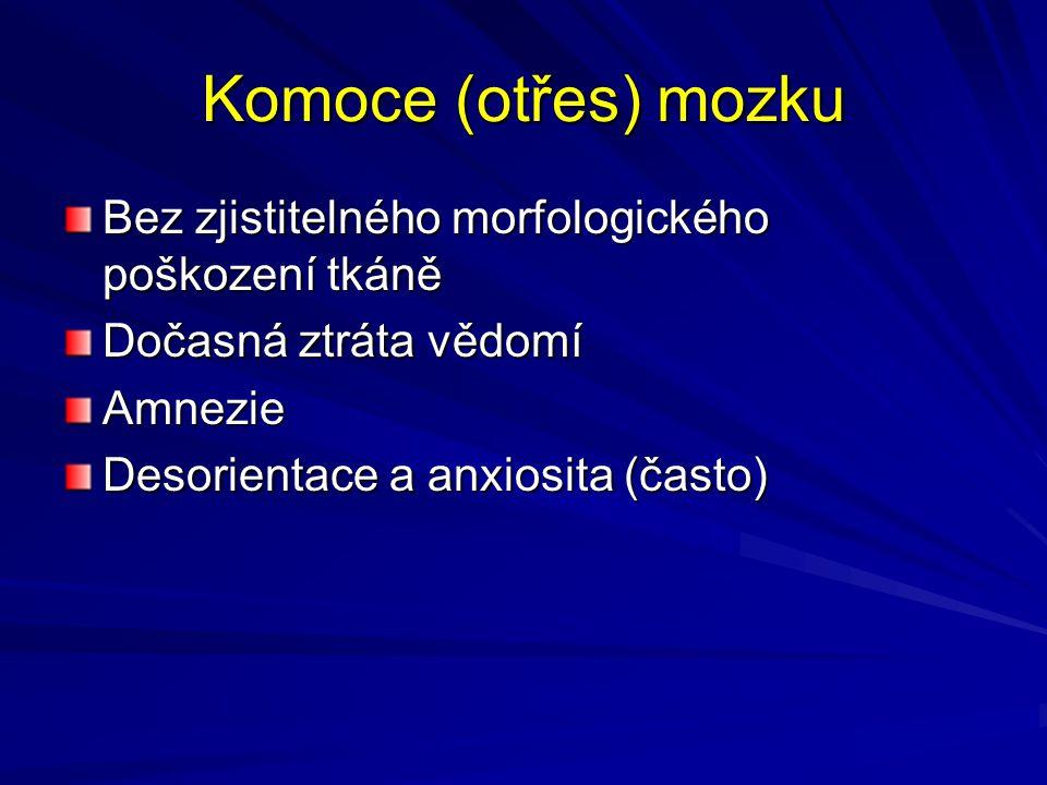 Komoce (otřes) mozku Bez zjistitelného morfologického poškození tkáně