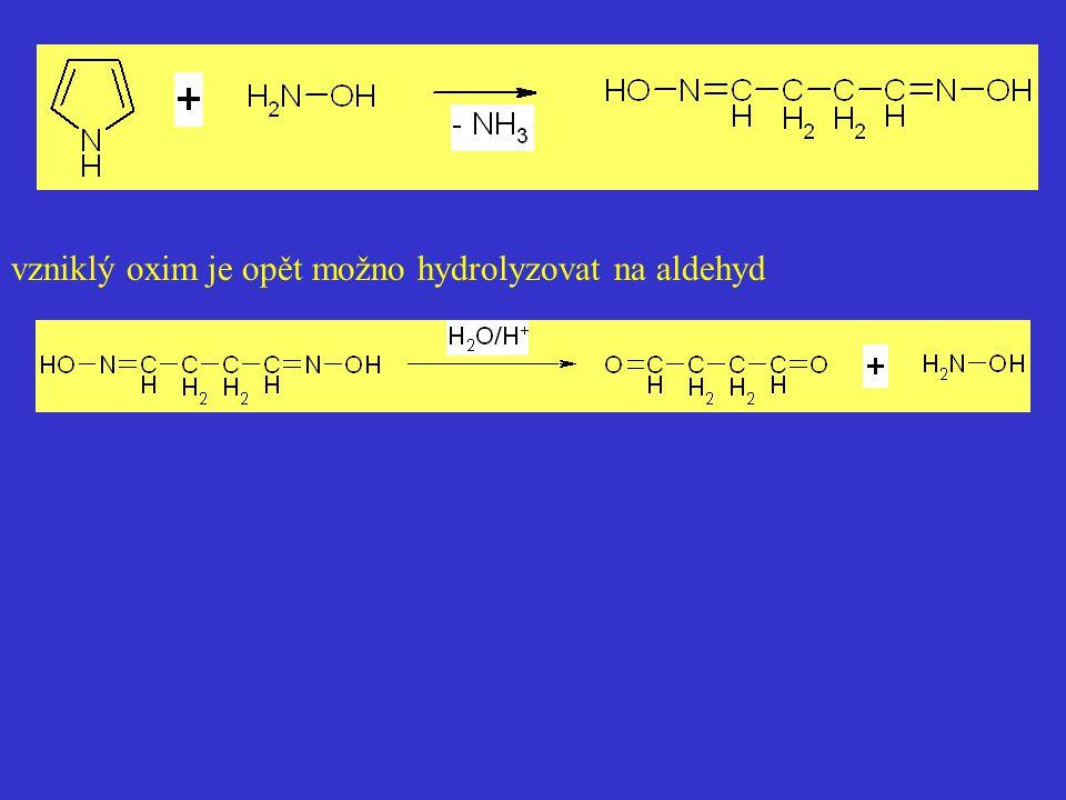 vzniklý oxim je opět možno hydrolyzovat na aldehyd