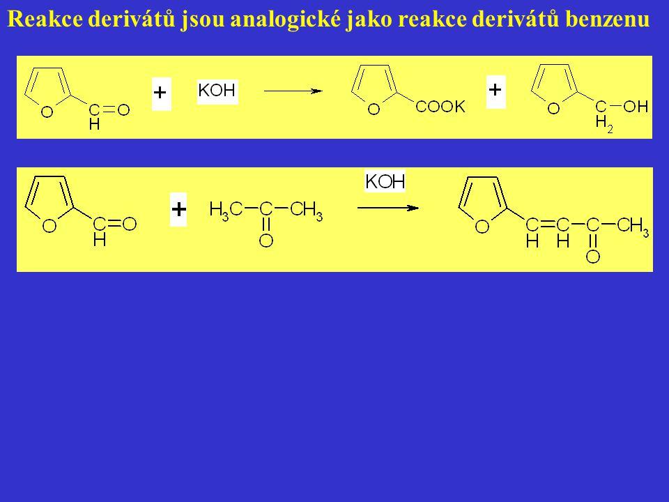 Reakce derivátů jsou analogické jako reakce derivátů benzenu