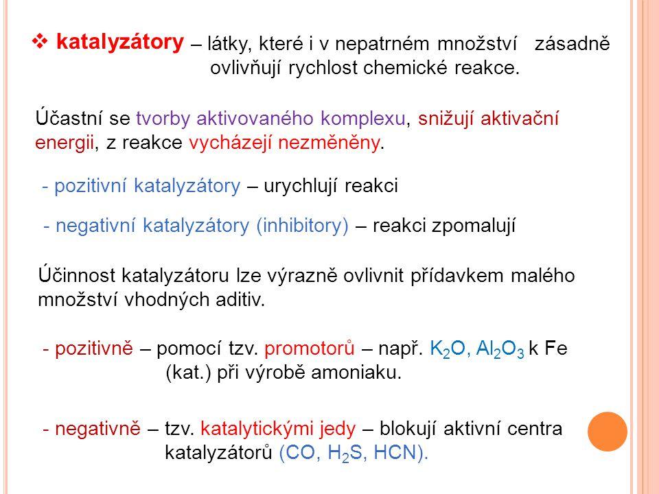 katalyzátory – látky, které i v nepatrném množství zásadně ovlivňují rychlost chemické reakce.