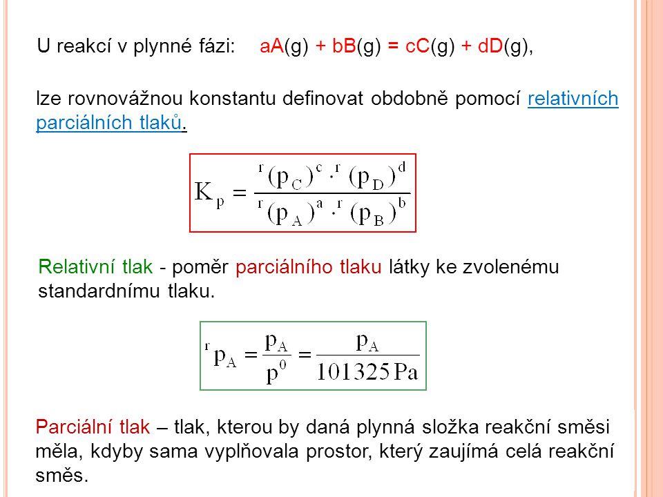 U reakcí v plynné fázi: aA(g) + bB(g) = cC(g) + dD(g), lze rovnovážnou konstantu definovat obdobně pomocí relativních parciálních tlaků.