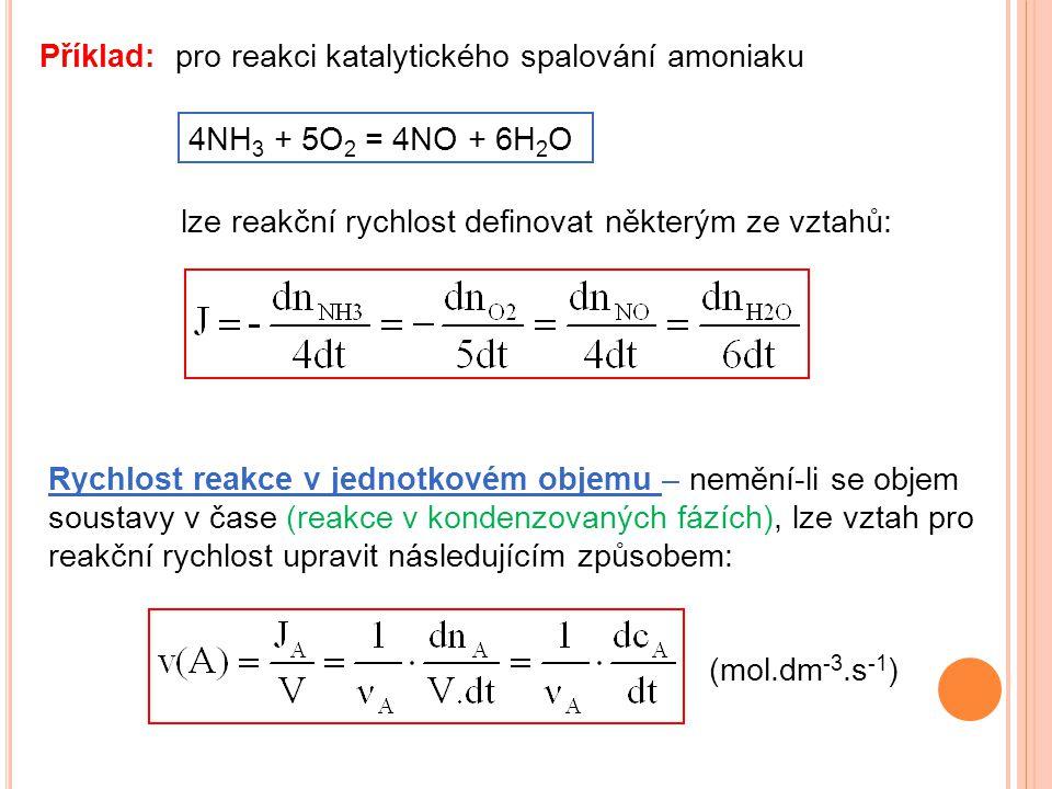 Příklad: pro reakci katalytického spalování amoniaku