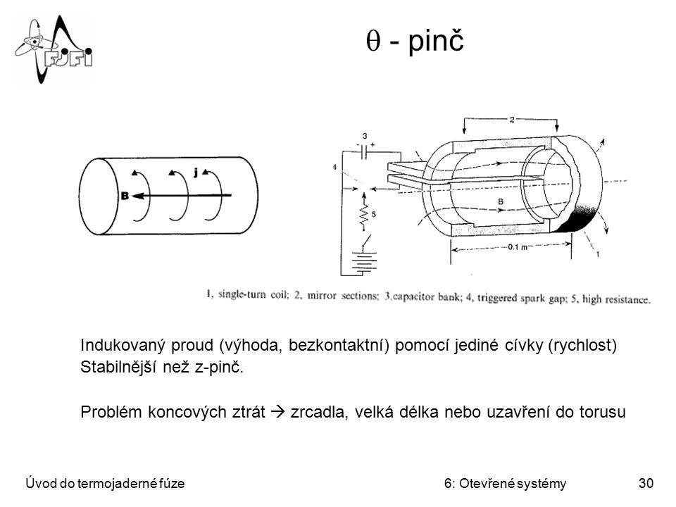 q - pinč Indukovaný proud (výhoda, bezkontaktní) pomocí jediné cívky (rychlost) Stabilnější než z-pinč.