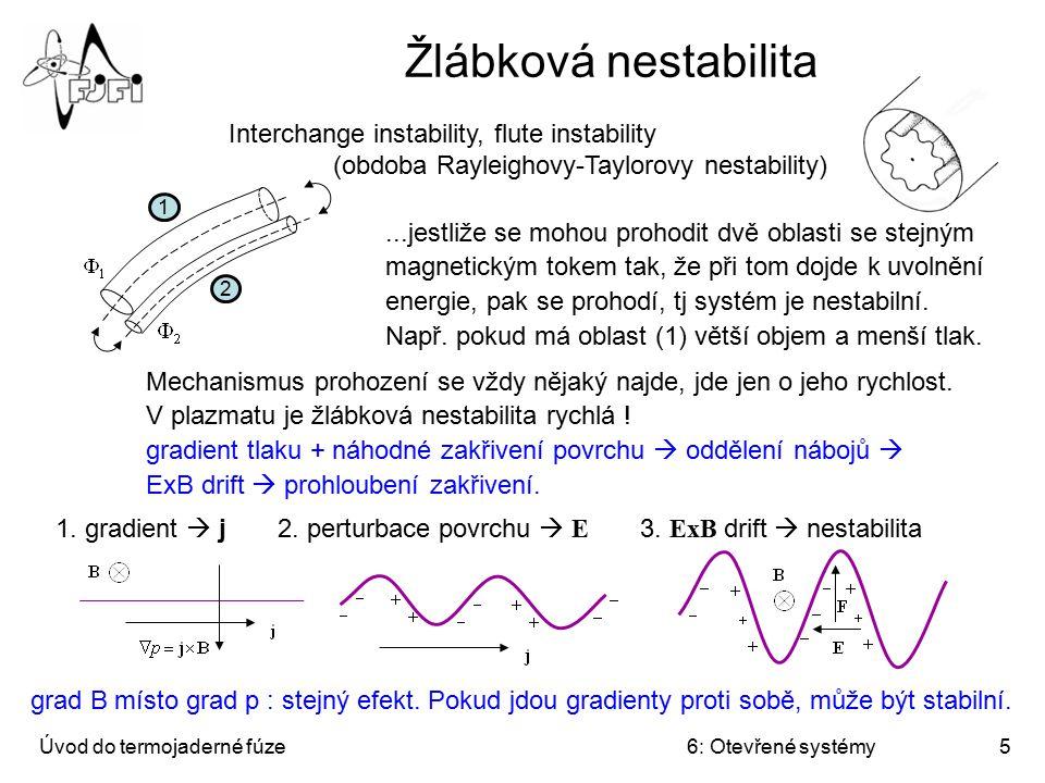 Žlábková nestabilita Interchange instability, flute instability (obdoba Rayleighovy-Taylorovy nestability)