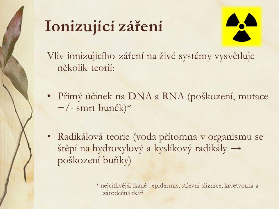 Ionizující záření Vliv ionizujícího záření na živé systémy vysvětluje několik teorií: Přímý účinek na DNA a RNA (poškození, mutace +/- smrt buněk)*