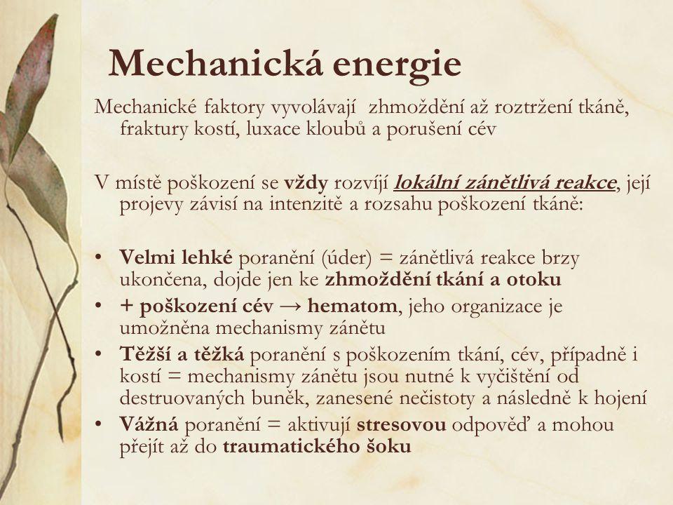 Mechanická energie Mechanické faktory vyvolávají zhmoždění až roztržení tkáně, fraktury kostí, luxace kloubů a porušení cév.