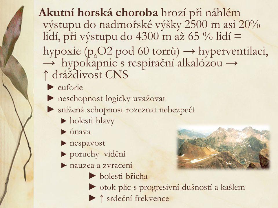 Akutní horská choroba hrozí při náhlém výstupu do nadmořské výšky 2500 m asi 20% lidí, při výstupu do 4300 m až 65 % lidí =