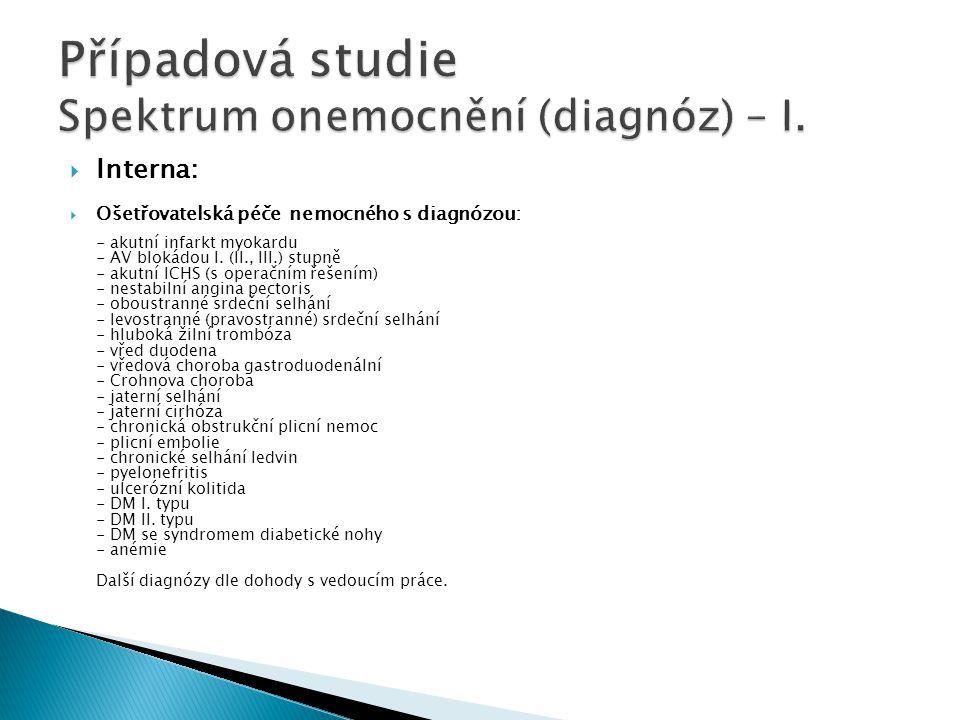 Případová studie Spektrum onemocnění (diagnóz) – I.