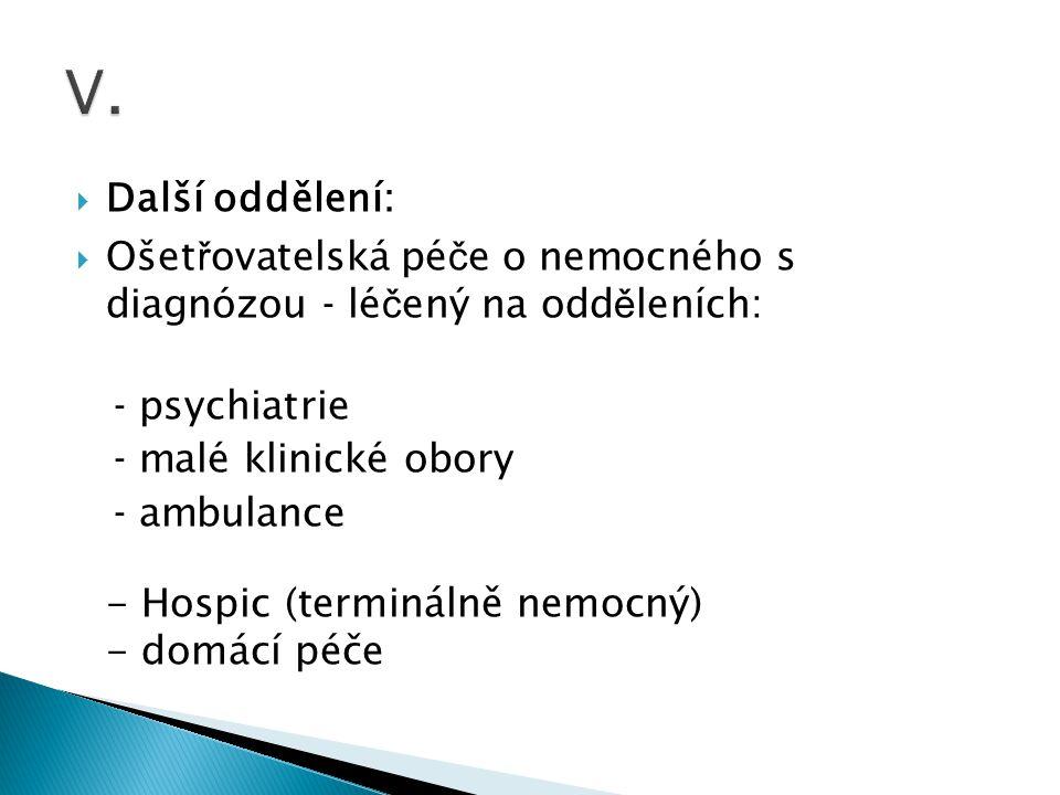 V. Další oddělení: Ošetřovatelská péče o nemocného s diagnózou - léčený na odděleních: - psychiatrie.