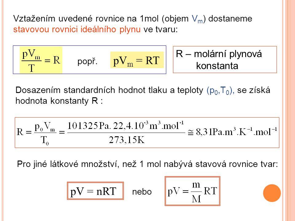 pVm = RT pV = nRT R – molární plynová konstanta