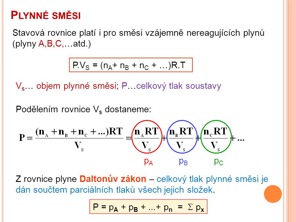 Plynné směsi Stavová rovnice platí i pro směsi vzájemně nereagujících plynů (plyny A,B,C,…atd.) P.VS = (nA+ nB + nC + …)R.T.