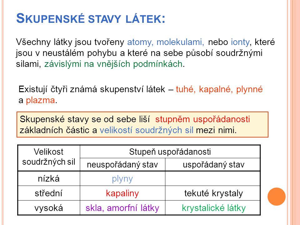 Skupenské stavy látek: