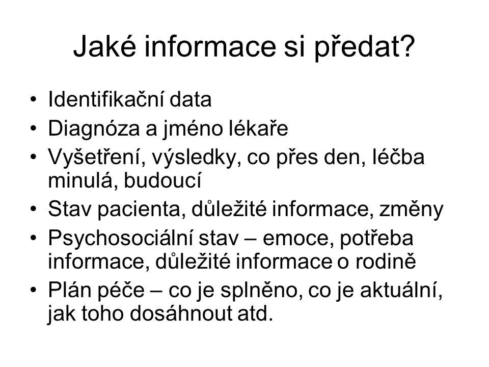 Jaké informace si předat