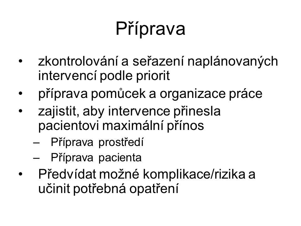 Příprava zkontrolování a seřazení naplánovaných intervencí podle priorit. příprava pomůcek a organizace práce.