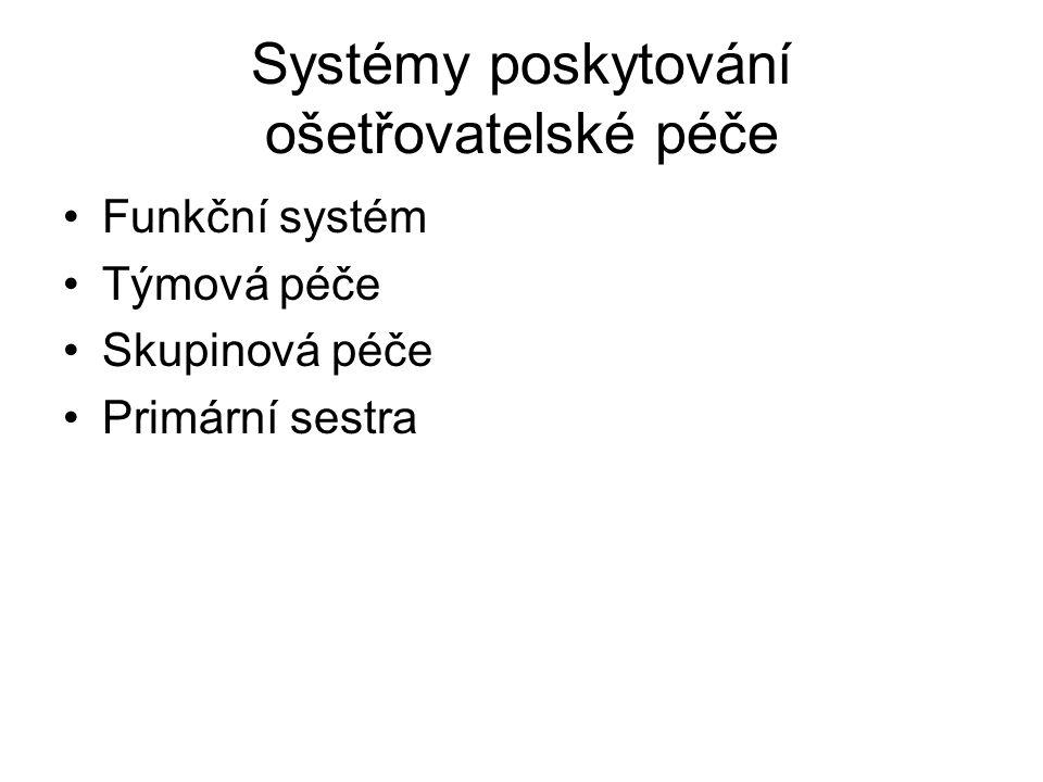 Systémy poskytování ošetřovatelské péče