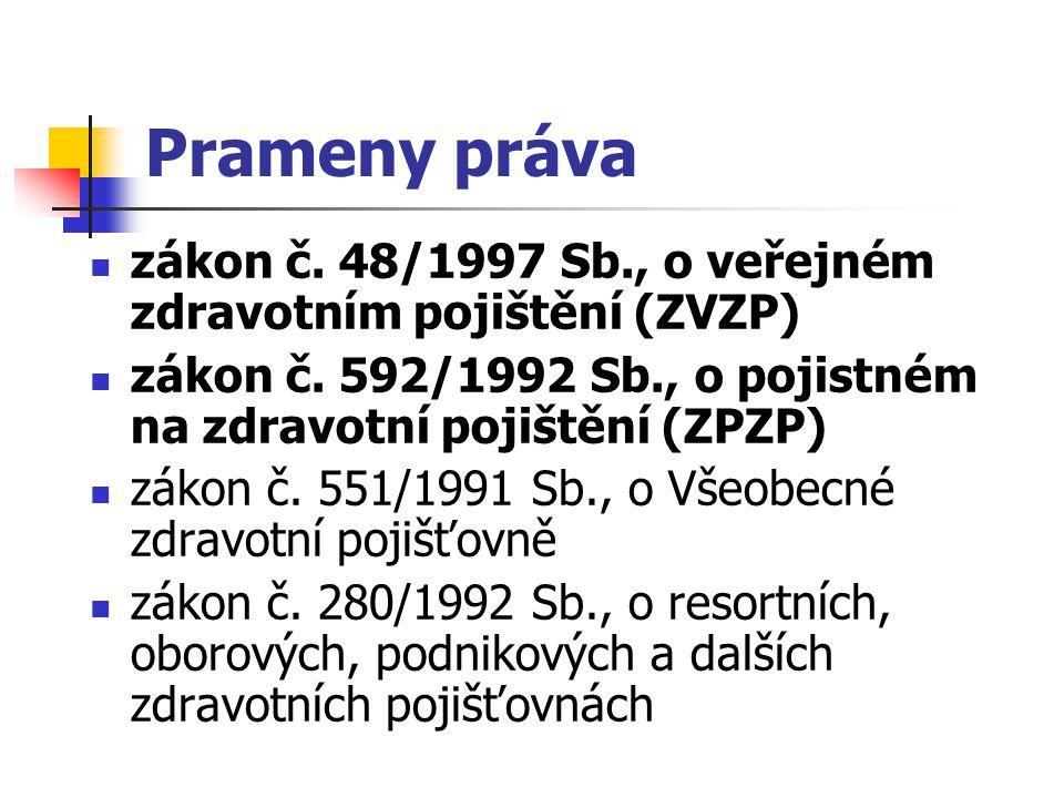 Prameny práva zákon č. 48/1997 Sb., o veřejném zdravotním pojištění (ZVZP) zákon č. 592/1992 Sb., o pojistném na zdravotní pojištění (ZPZP)