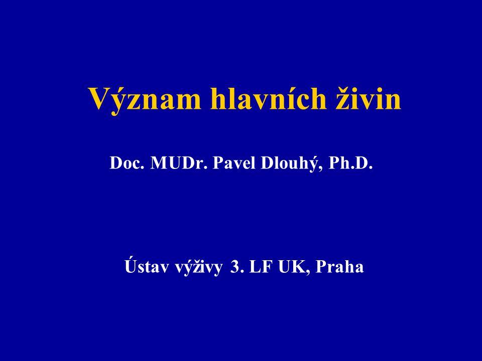 Doc. MUDr. Pavel Dlouhý, Ph.D. Ústav výživy 3. LF UK, Praha