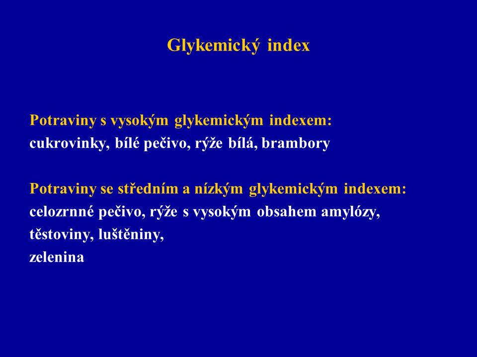 Glykemický index Potraviny s vysokým glykemickým indexem: