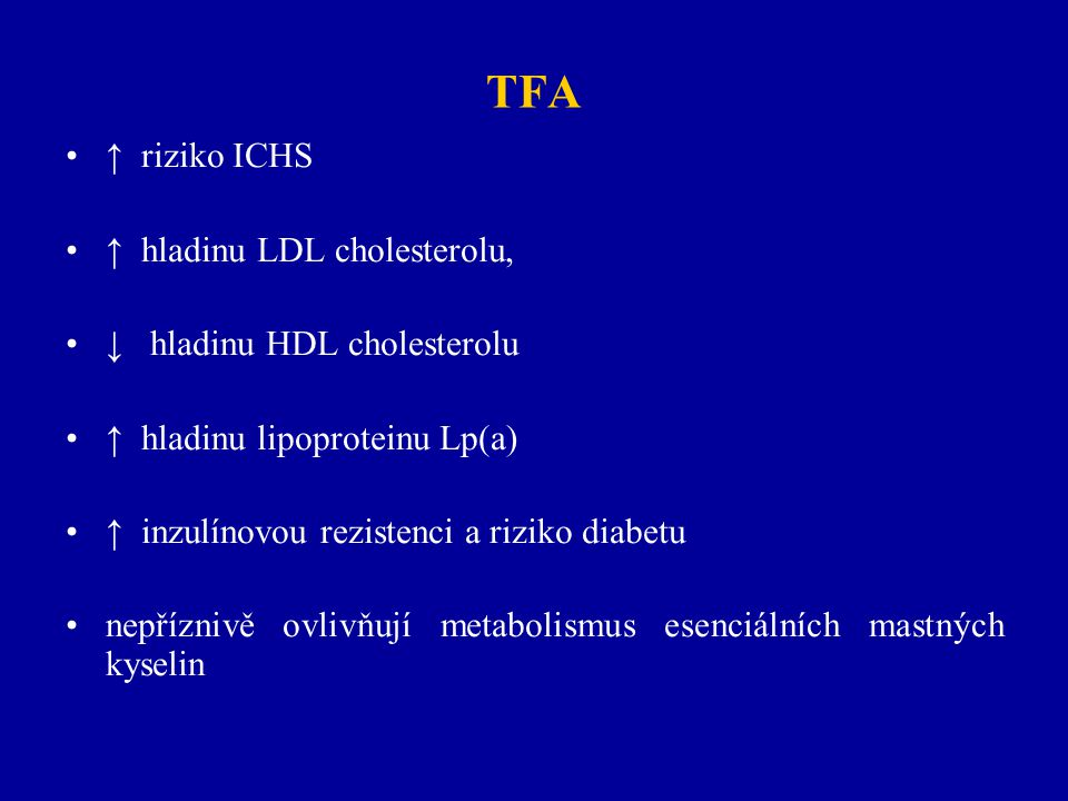 TFA ↑ riziko ICHS ↑ hladinu LDL cholesterolu,