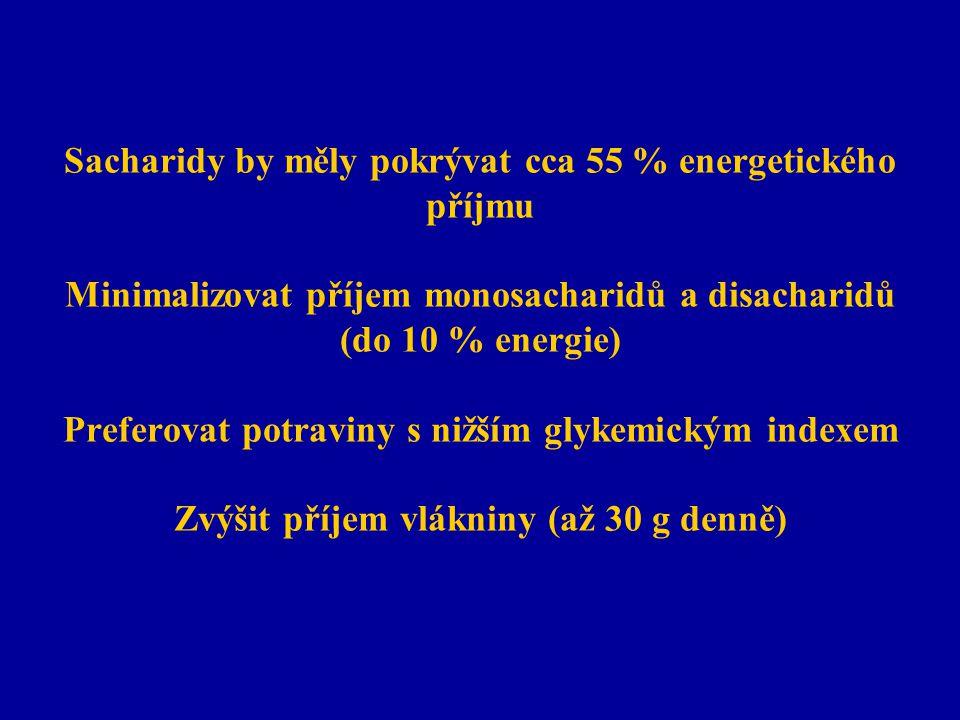 Sacharidy by měly pokrývat cca 55 % energetického příjmu Minimalizovat příjem monosacharidů a disacharidů (do 10 % energie) Preferovat potraviny s nižším glykemickým indexem Zvýšit příjem vlákniny (až 30 g denně)