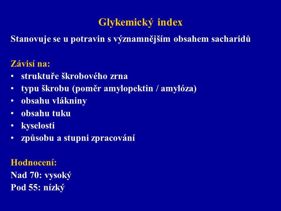 Glykemický index Stanovuje se u potravin s významnějším obsahem sacharidů. Závisí na: struktuře škrobového zrna.
