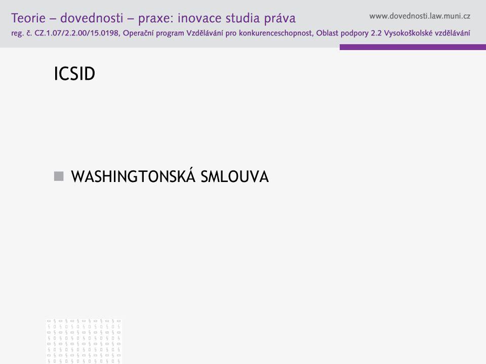 ICSID WASHINGTONSKÁ SMLOUVA