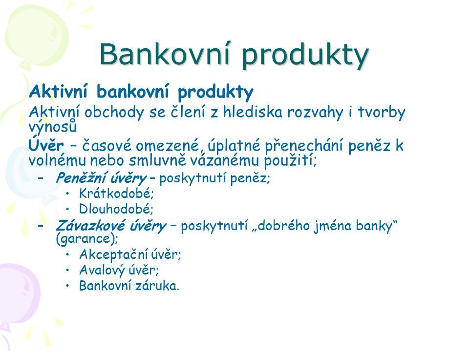 Bankovní produkty Aktivní bankovní produkty