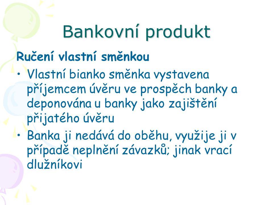 Bankovní produkt Ručení vlastní směnkou