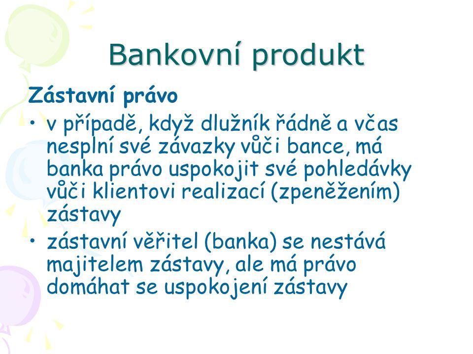 Bankovní produkt Zástavní právo