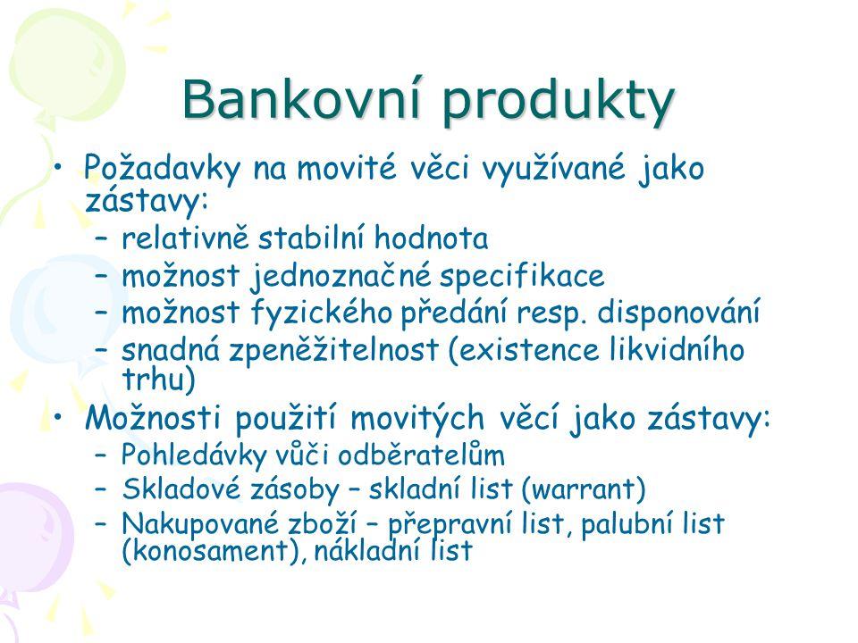 Bankovní produkty Požadavky na movité věci využívané jako zástavy: