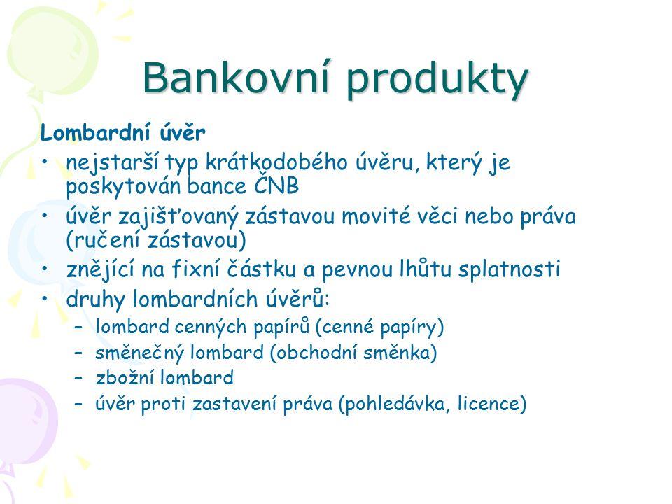 Bankovní produkty Lombardní úvěr