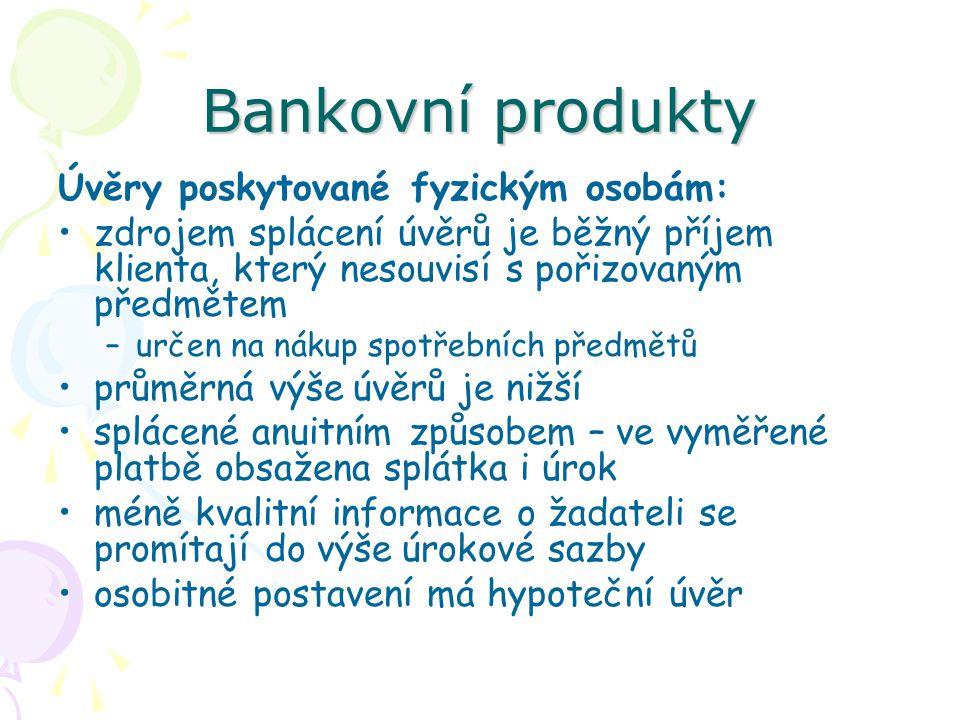 Bankovní produkty Úvěry poskytované fyzickým osobám: