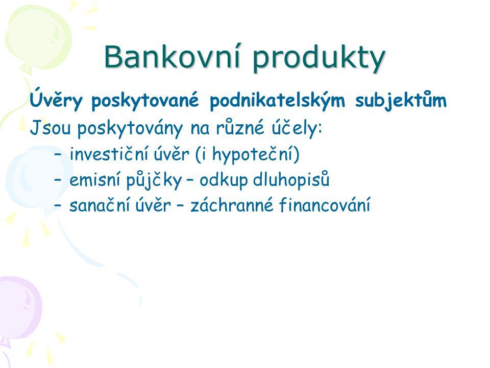 Bankovní produkty Úvěry poskytované podnikatelským subjektům