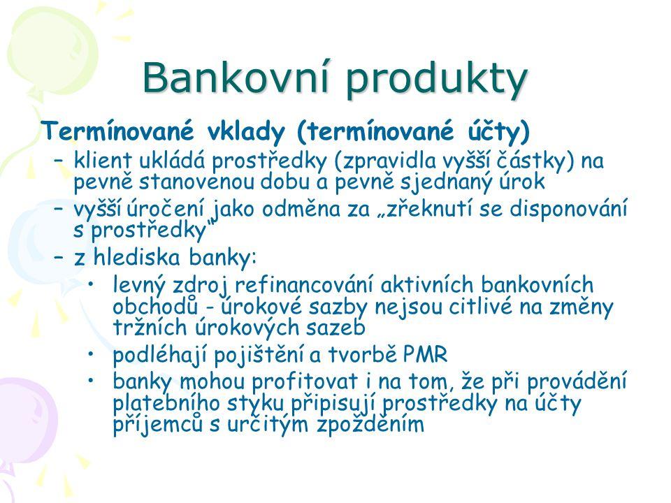 Bankovní produkty Termínované vklady (termínované účty)