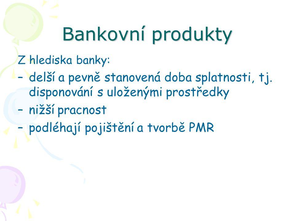 Bankovní produkty Z hlediska banky: delší a pevně stanovená doba splatnosti, tj. disponování s uloženými prostředky.