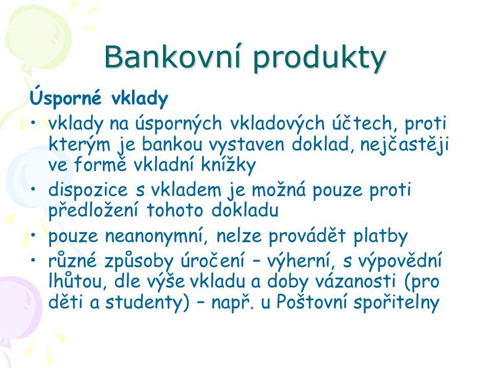 Bankovní produkty Úsporné vklady