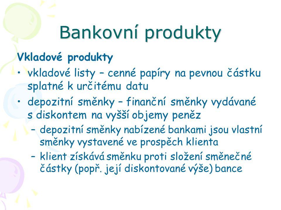 Bankovní produkty Vkladové produkty