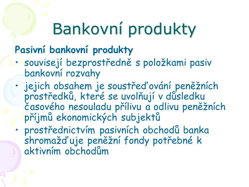 Bankovní produkty Pasivní bankovní produkty