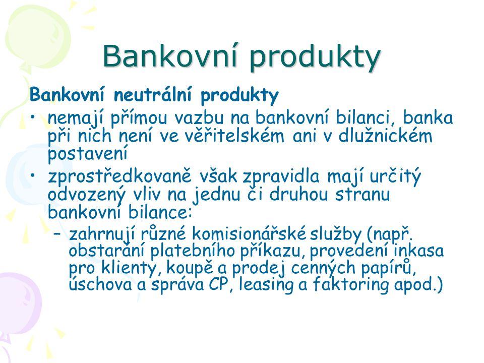 Bankovní produkty Bankovní neutrální produkty