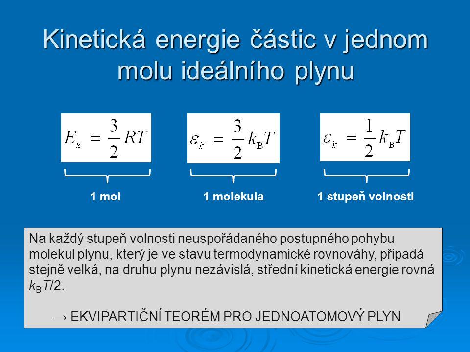 Kinetická energie částic v jednom molu ideálního plynu