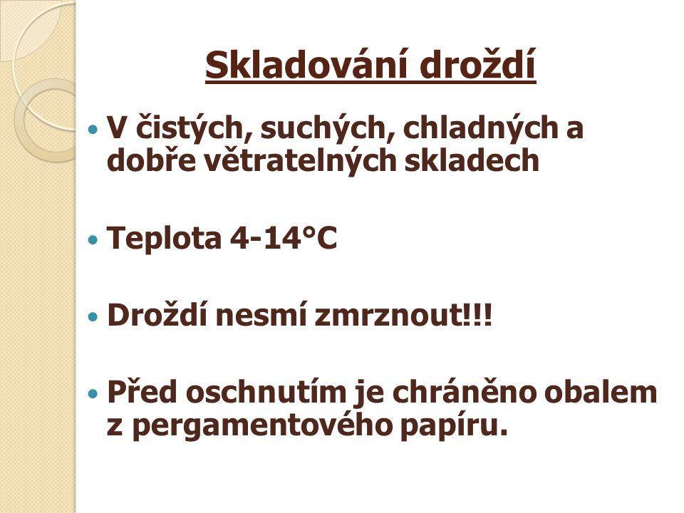 Skladování droždí V čistých, suchých, chladných a dobře větratelných skladech. Teplota 4-14°C. Droždí nesmí zmrznout!!!